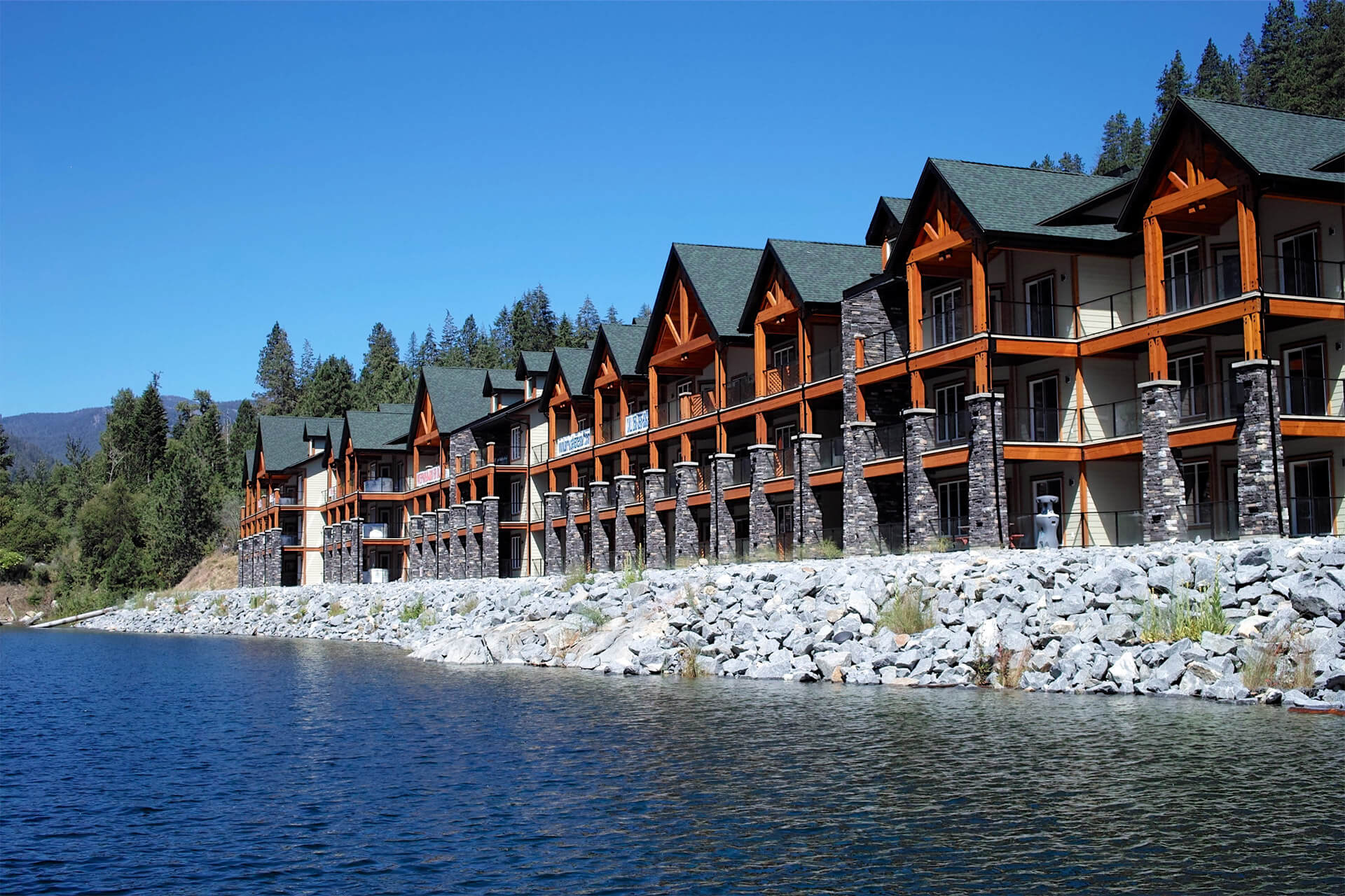 View of condos from the water at Arrow Lakes